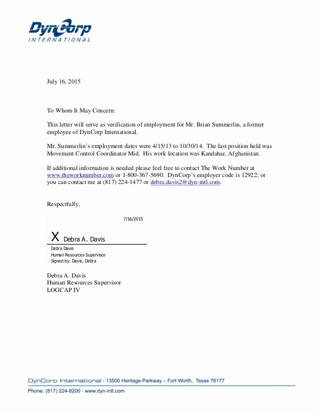 Letter Of Concern for Employee Beautiful Dyncorp Voe