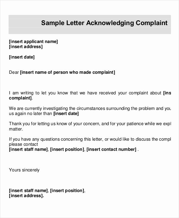 Letter Of Concern for Employee Lovely Employee Acknowledgement Letter Template 6 Free Word