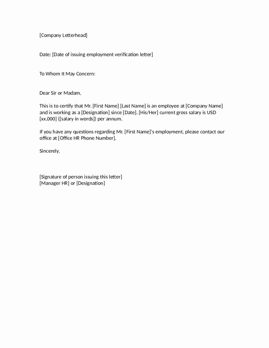 Letter Of Concern for Employee Luxury 2019 Proof Of Employment Letter Fillable Printable Pdf