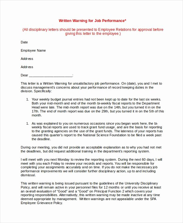 Letter Of Concern for Employee Unique Warning Letter Template 9 Free Word Pdf Document