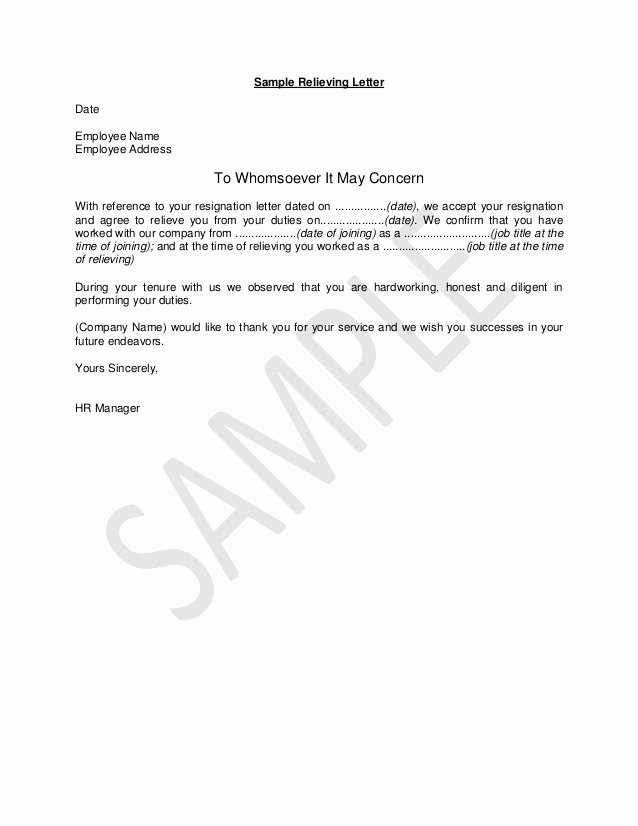 Letter Of Concern Sample New Hr Guide Sample Relieving Letter