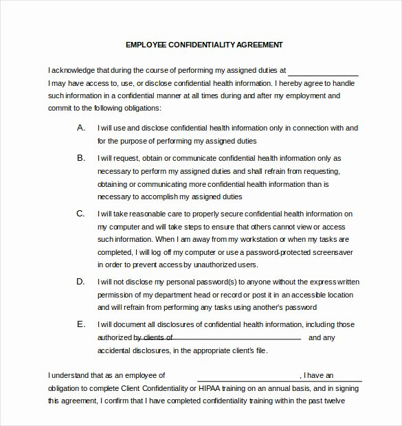 Letter Of Confidentiality Template Awesome 26 Confidentiality Agreement Templates Doc Pdf