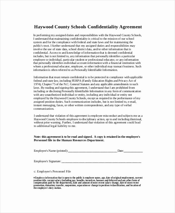 Letter Of Confidentiality Template Beautiful Human Resources Confidentiality Agreement – 10 Free Word