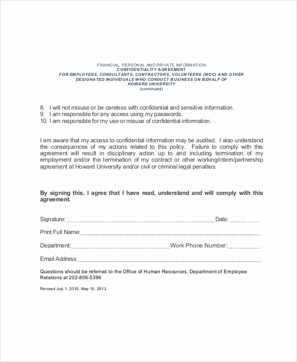 Letter Of Confidentiality Template Beautiful Sample Hr Confidentiality Agreement 6 Documents In Pdf
