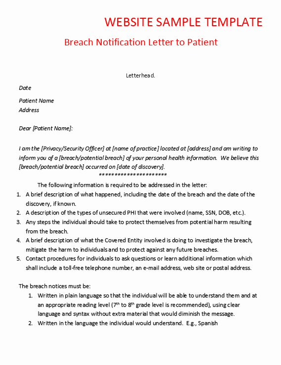 Letter Of Confidentiality Template Elegant Breach Notification Letter to Patient