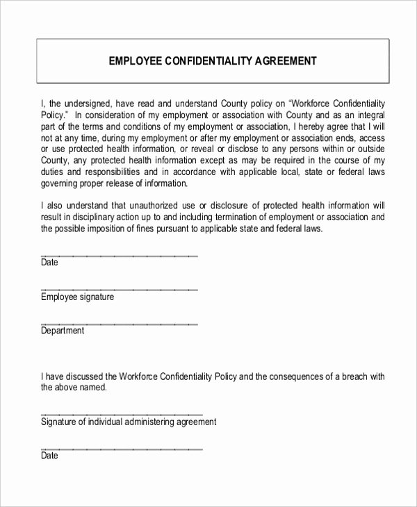 Letter Of Confidentiality Template Fresh Employee Confidentiality Agreement