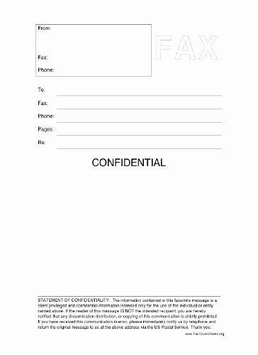Letter Of Confidentiality Template Fresh This Printable Fax Cover Sheet Includes A Statement Of