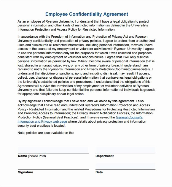 Letter Of Confidentiality Template Unique Employee Confidentiality Agreement Non Disclosure