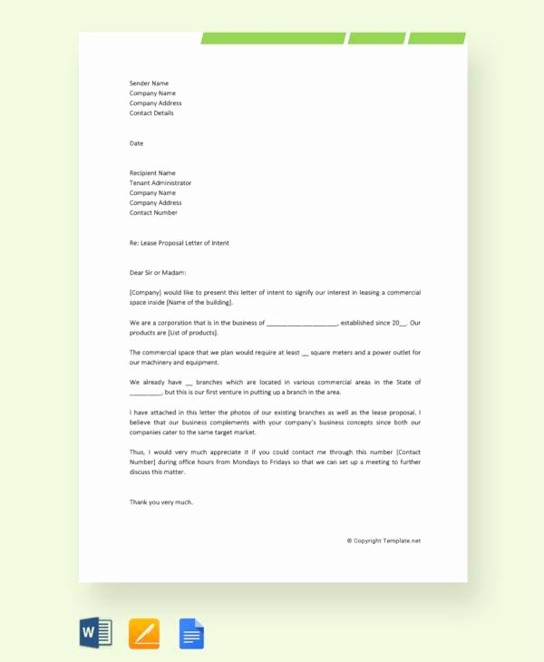 Letter Of Intent for Leasing Commercial Space Best Of 14 Sample Lease Proposal Letters Pdf Pages