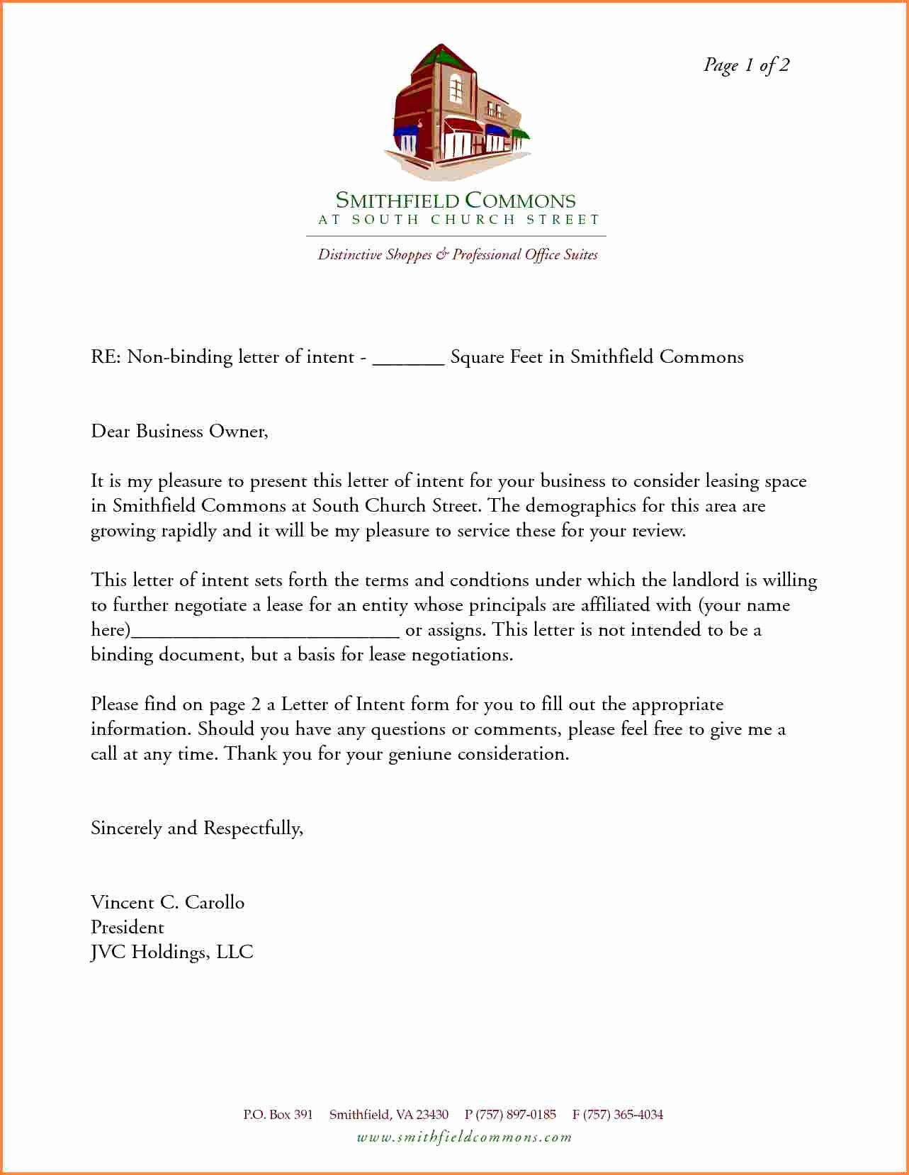 Letter Of Intent for Leasing Commercial Space Unique Letter Intent to Lease Mercial Space Template