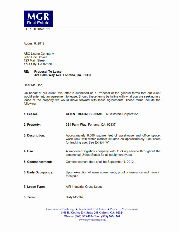 Letter Of Intent for Leasing Commercial Space Unique Merical Lease Prposals