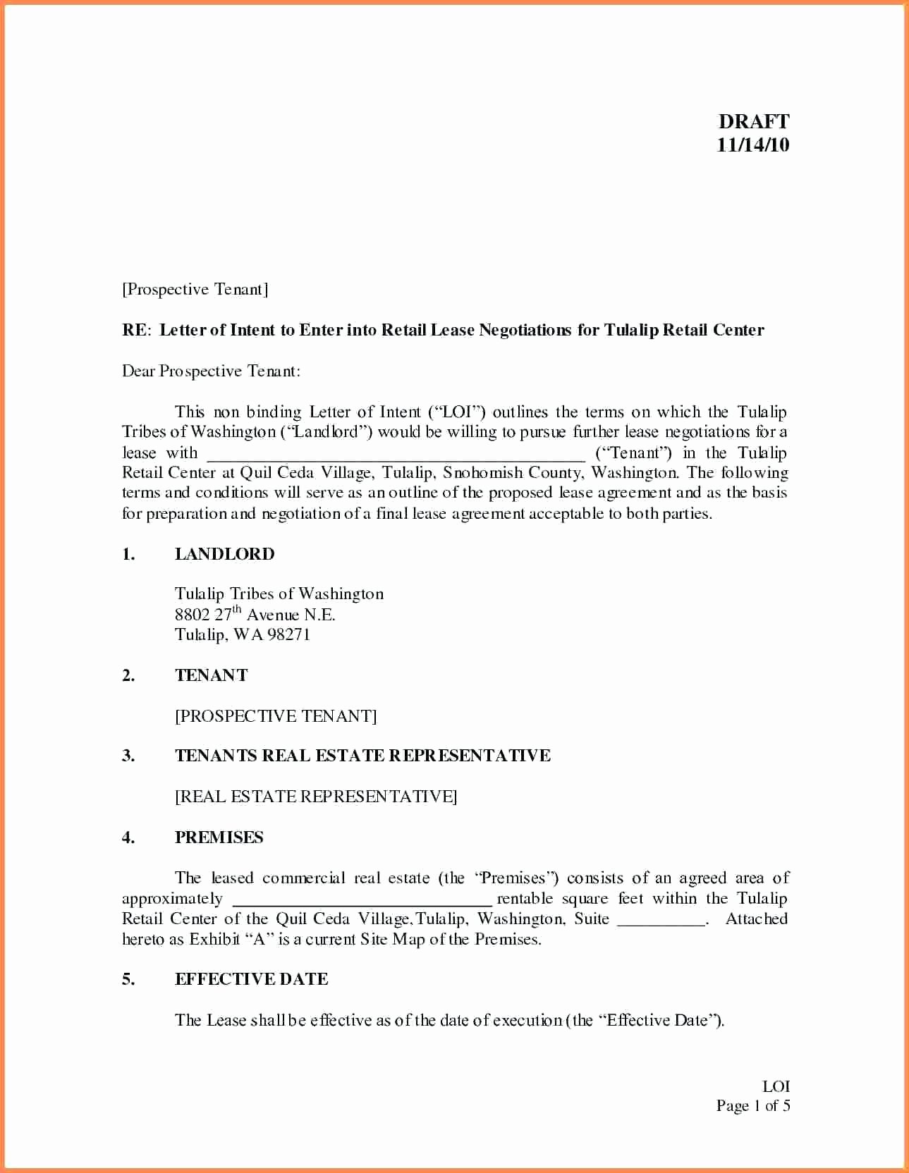 Letter Of Intent to Lease Sample Awesome Letter Intent to Lease Mercial Property Template