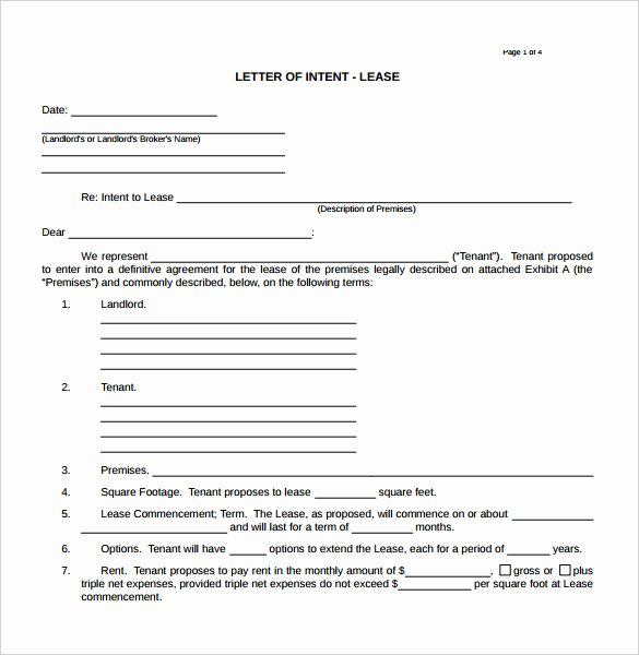 Letter Of Intent to Lease Sample Lovely 14 Real Estate Letter Intent Templates Free Sample
