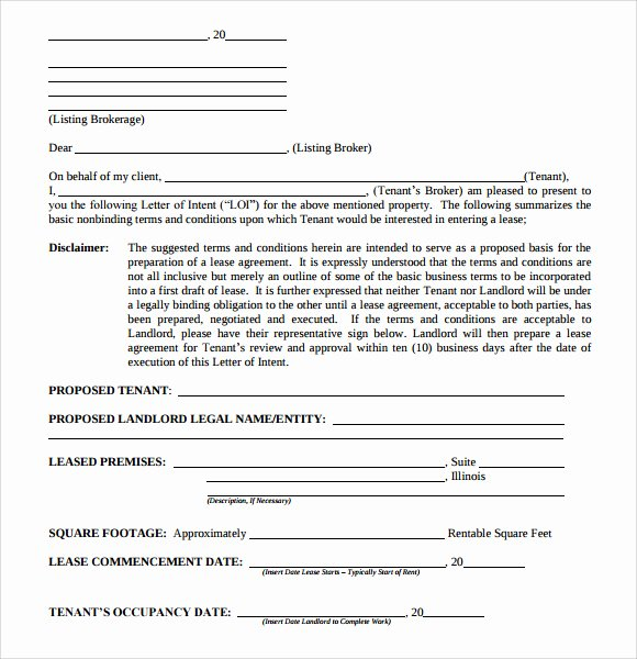 Letter Of Intent to Lease Template Best Of 10 Letter Of Intent Real Estate Templates to Download
