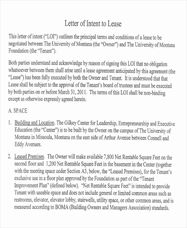 Letter Of Intent to Lease Template Best Of 14 Sample Lease Proposal Letters Pdf Pages
