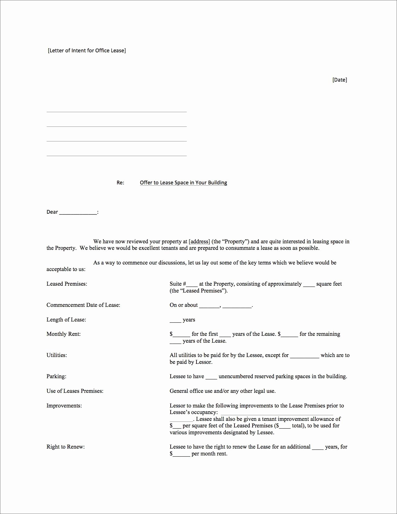 Letter Of Intent to Lease Template Elegant How to Negotiate the Best Fice Lease for Your Startup