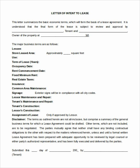 Letter Of Intent to Lease Template Lovely Letter Of Intent Lease How to Write Better Essays 6