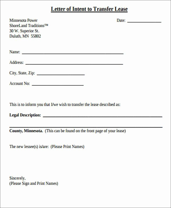 Letter Of Intent to Lease Template Unique Lease Transfer Letter Template 6 Free Word Pdf format