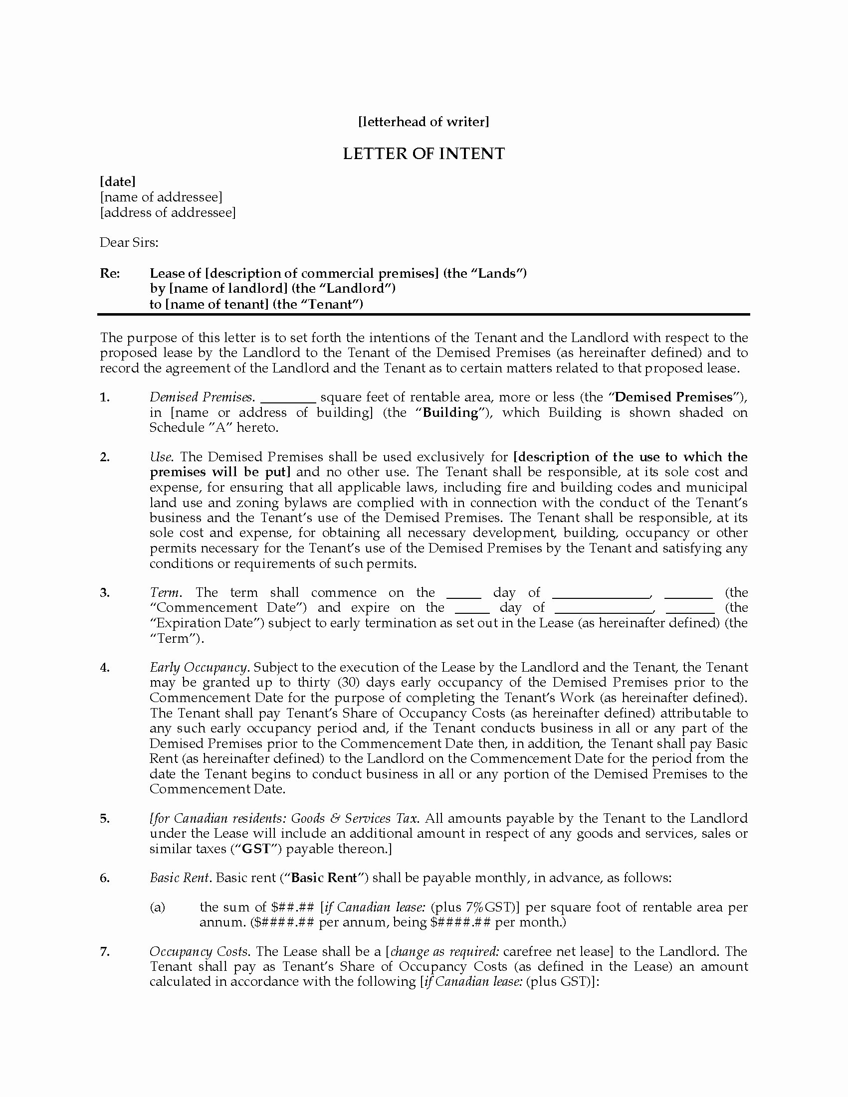 Letter Of Intent to Lease Template Unique Mercial Lease Letter Intent Template Sample