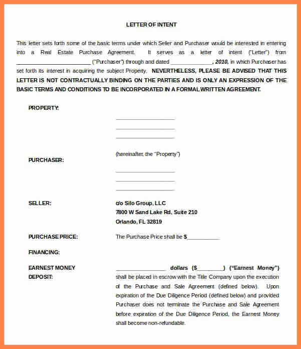 Letter Of Intent to Rent Property Beautiful 10 Letter Of Intent for Real Estate Purchase Template