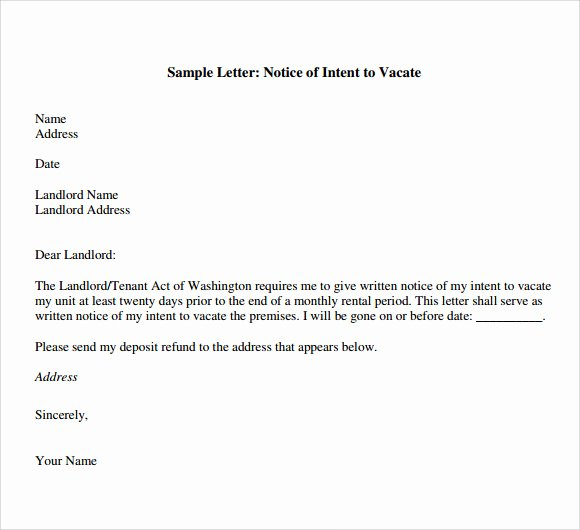 Letter Of Intent to Rent Property Inspirational Letter Of Intent to Vacate 7 Download Free Documents In