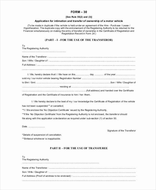 Letter Of Ownership Of Business New Notification Change Ownership Motor Vehicle