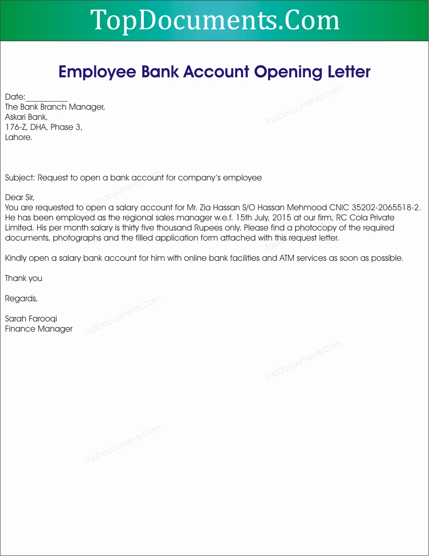 Letter to Close Bank Account Fresh Open Application Letter for Employment