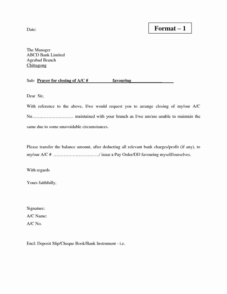 Letter to Close Bank Account Inspirational Bank Current Account Closing Letter format Letter Of