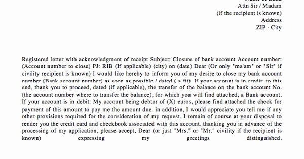 Letter to Close Bank Account Unique Bank Account Closing Letter Template