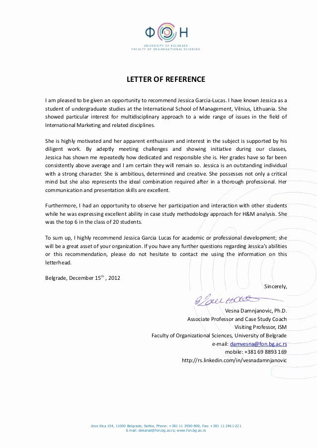 Letter to Garcia Pdf Awesome Erasmus Letter Of Reference Jessica Garcia Lucas Pdf