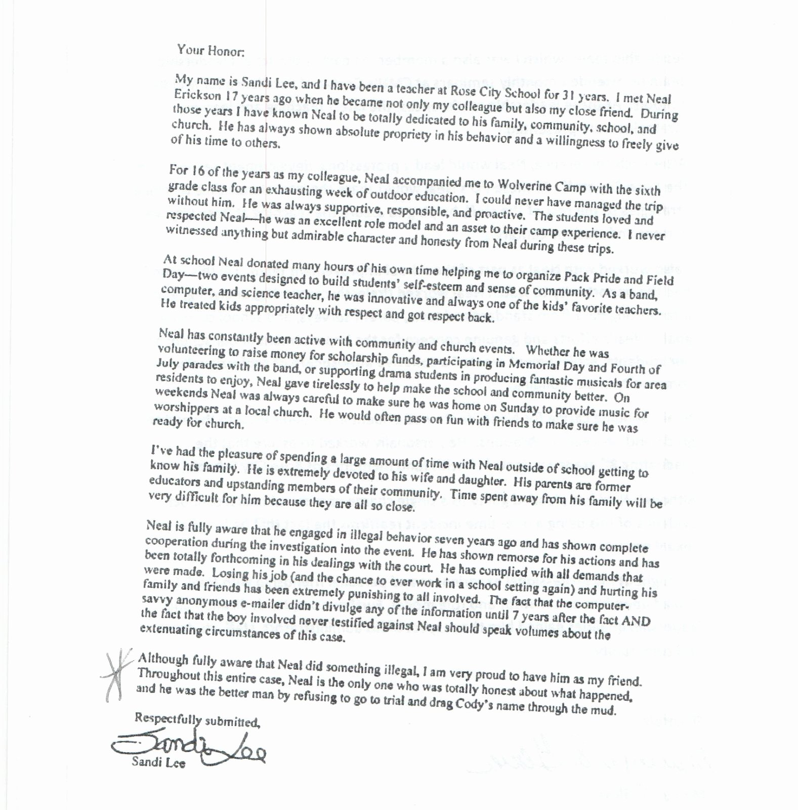 Letter to Judge asking for Leniency for Friend Inspirational Leniency Letters From West Branch Rose City Teachers