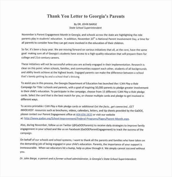 Letters to Parents Template Beautiful 6 Thank You Letter to Parents Pdf Doc