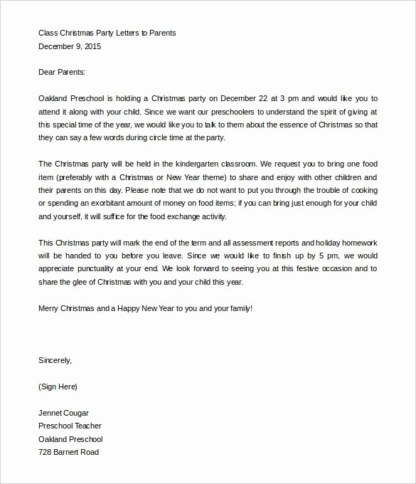 Letters to Parents Template Beautiful Christmas Party Letter to Parents Letter Of Re Mendation