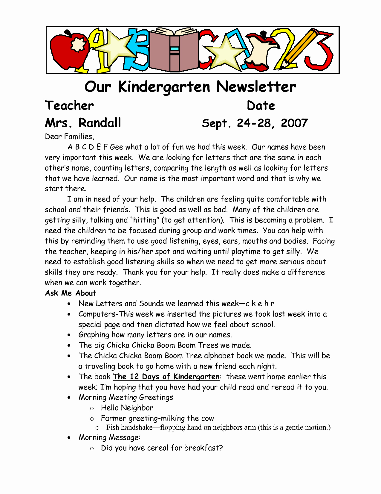 Letters to Parents Template Beautiful Sample Wel E to Kindergarten Letters