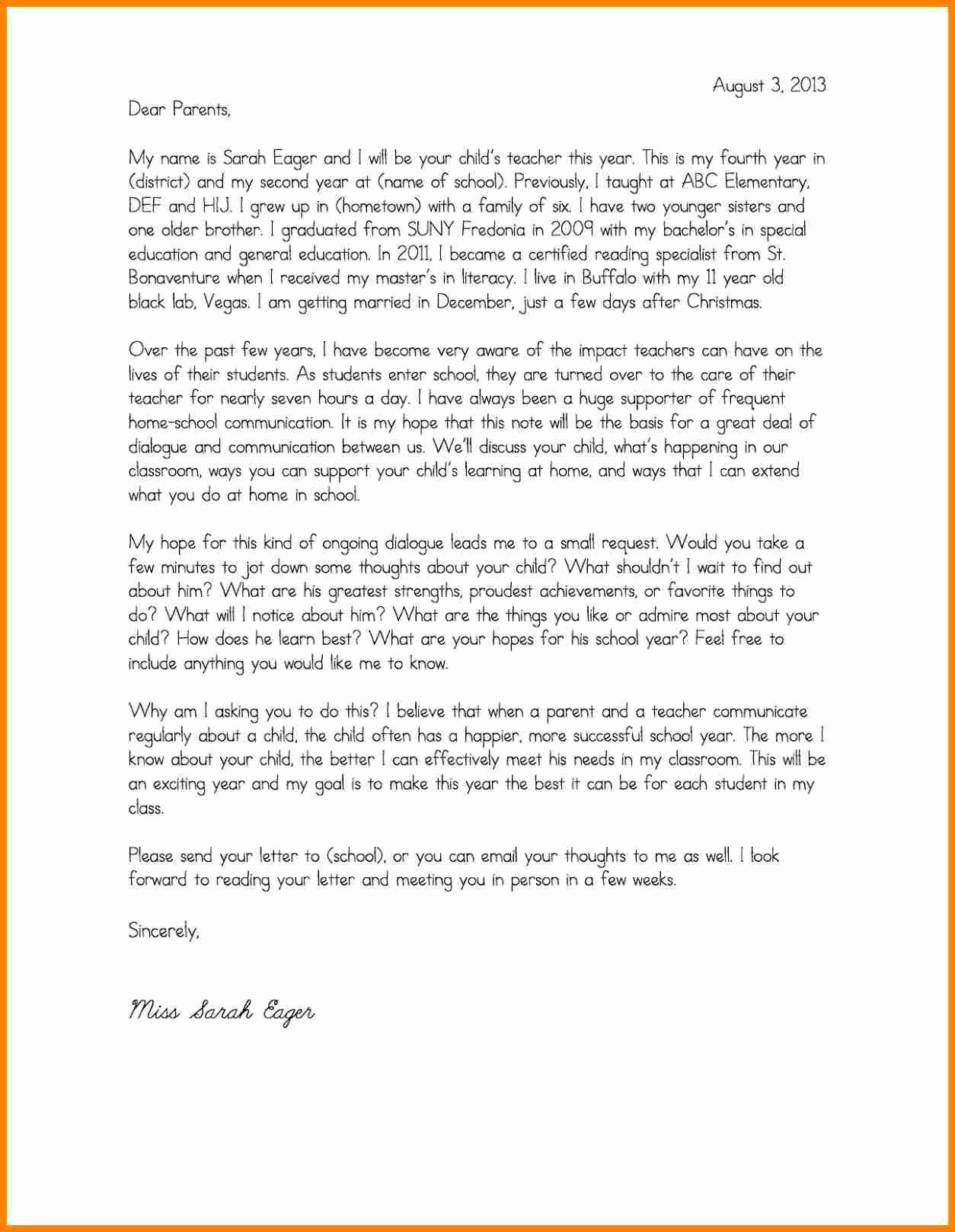 Letters to Parents Template Fresh 4 Teacher Introduction Letter to Parents Template