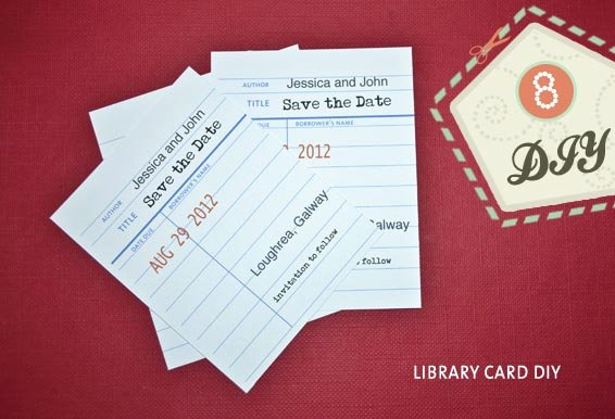 Library Checkout Card Template Lovely Library Style Save the Date Diy