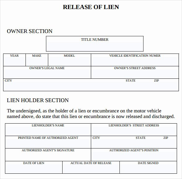 Lien Release Letter Template Awesome 9 Lien Release forms to Download