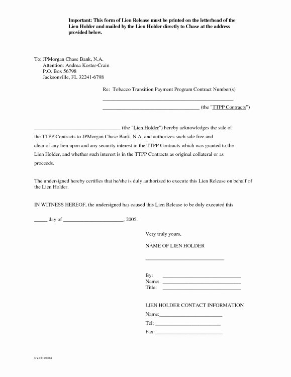 Lien Release Letter Template Awesome Letter Release form Mechanics Lien Release form Auto
