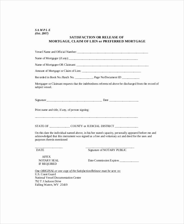 Lien Release Letter Template Fresh Sample Mortgage Release form 7 Examples In Word Pdf
