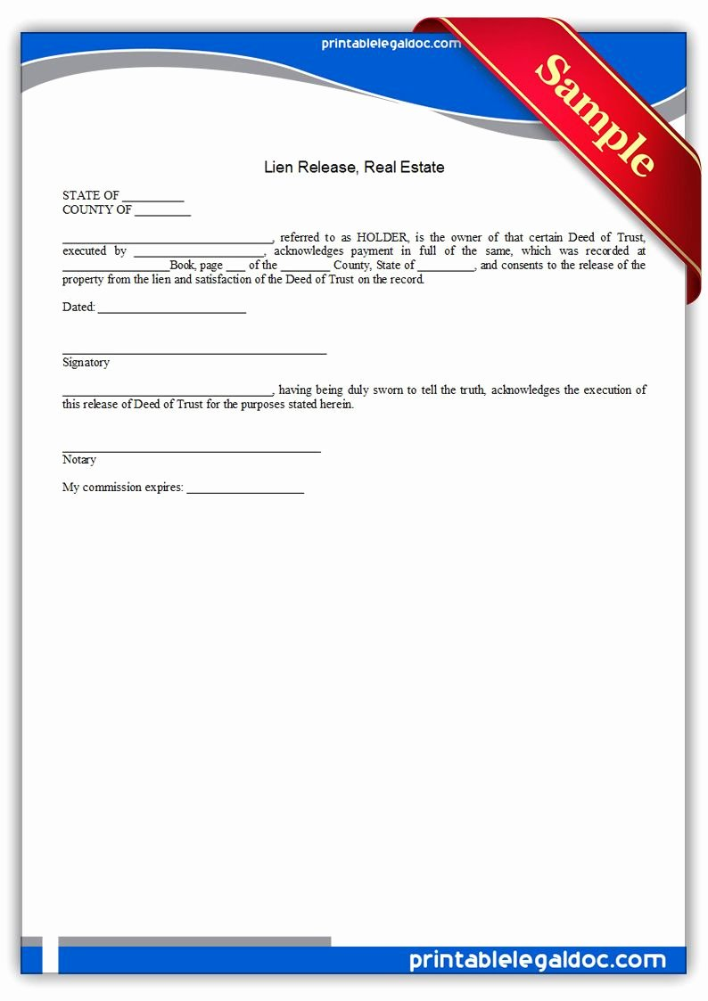 Lien Release Letter Template Lovely Free Printable Lien Release Real Estate