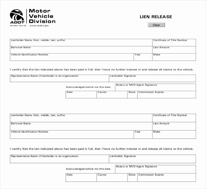 Lien Release Letter Template New 11 Lien Release Sample forms – Word Pdf