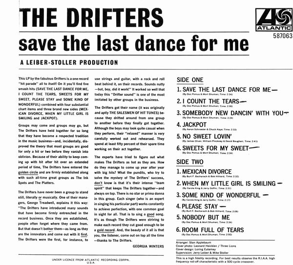 "Liner Notes Examples Unique the Drifters ""save the Last Dance for Me"" Liner Notes by"