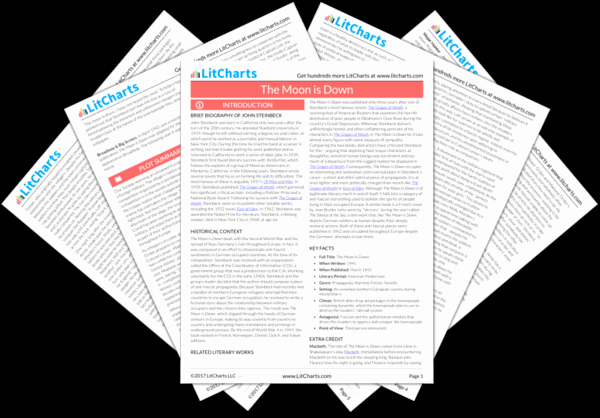 Litcharts Grapes Of Wrath Lovely the Moon is Down Study Guide From Litcharts