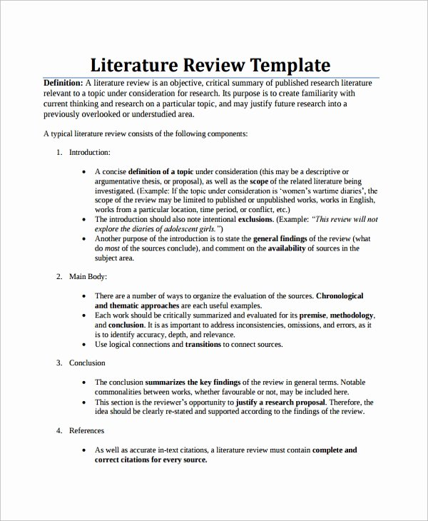 Literature Review Summary Table Template Elegant Sample Literature Review 7 Documents In Pdf Word