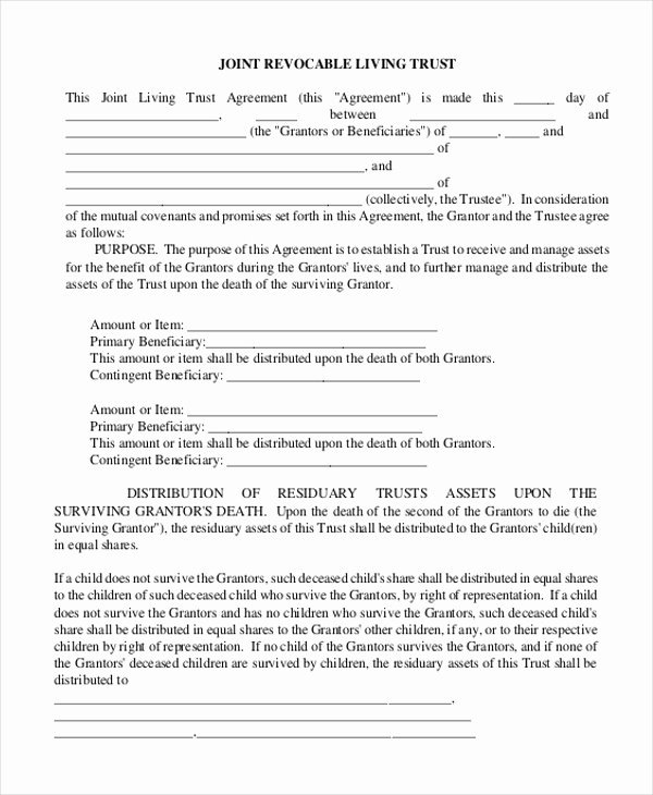 Living Agreement Template Beautiful Trust Agreement form
