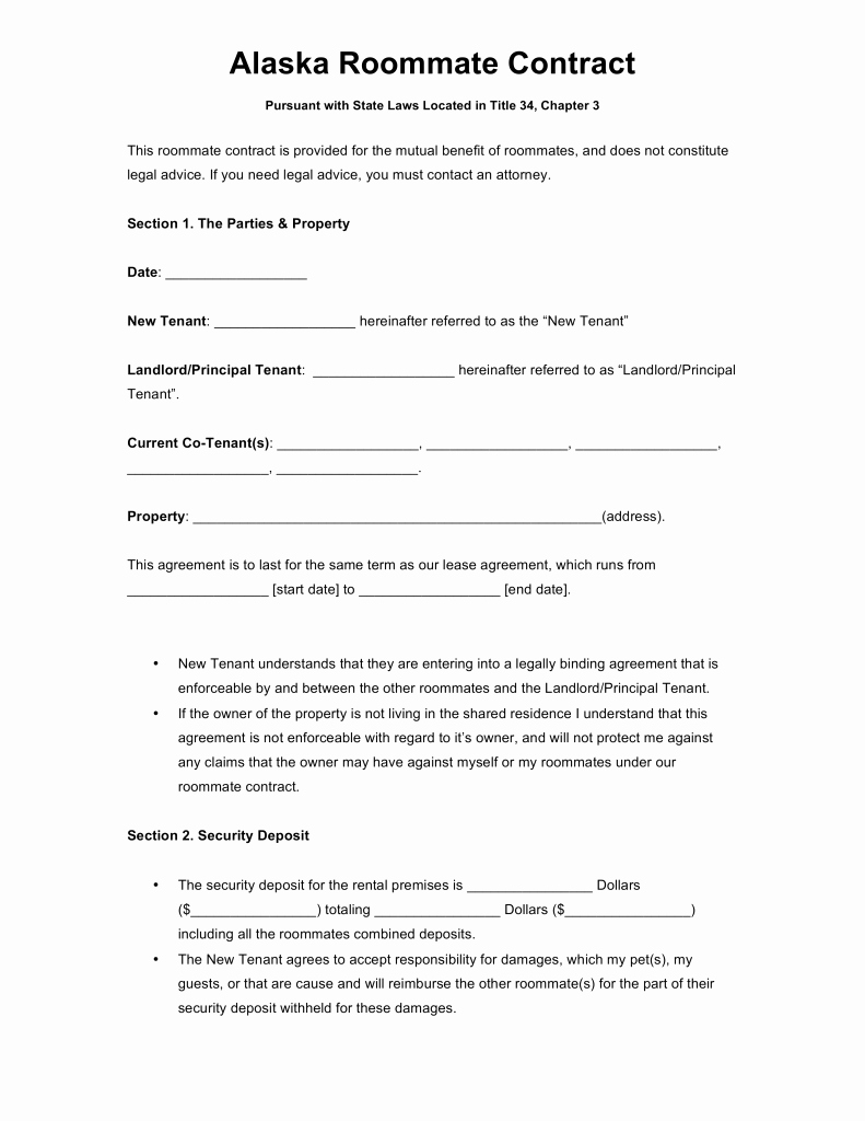 Living Agreement Template Inspirational Free Alaska Roommate Agreement Template Word