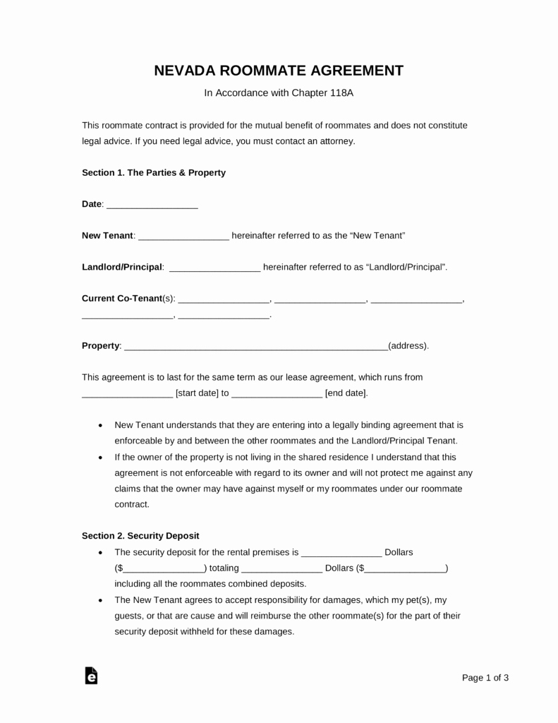 Living Agreement Template Luxury Free Nevada Roommate Agreement Template Pdf