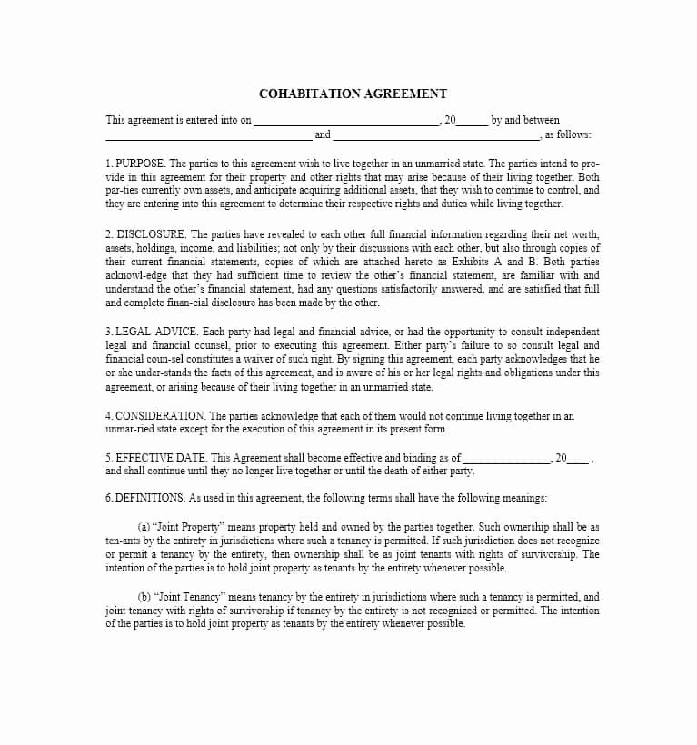 Living Agreement Template Unique Cohabitation Agreement 30 Free Templates & forms