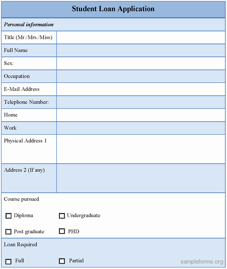 Loan Application form Sample Elegant Student Loan Application form Sample forms