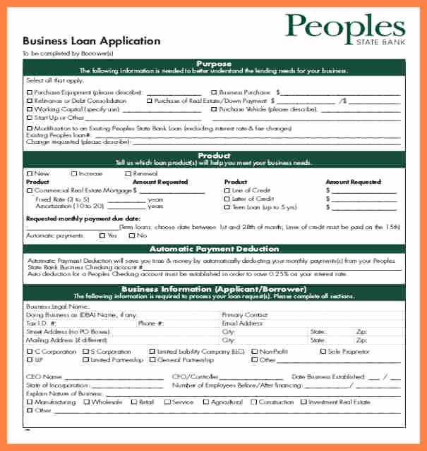 Loan Application form Sample Unique 6 Pany Loan Application form